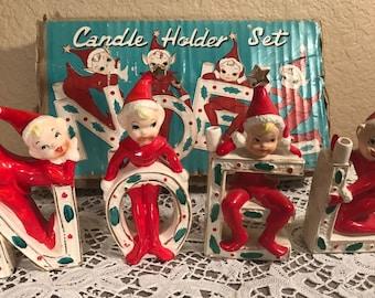 Vintage Thames Japan NOEL Carolers Elf Christmas Candle Holder Box Japan Elves Wales Napco Holt Howard Relco 1950s