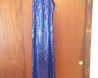 Vintage Women's Robert Anthony Royal Blue Sequin Maxi Dress 10 High Neck