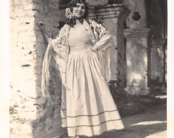 1920's Real Photo Postcard RPPC Pretty Lady in Mission San Juan California