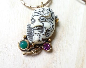 Selro Selini jewelry Selro Noh Mask pendant necklace Asian Warrior jewelry Ornate pendant white devils