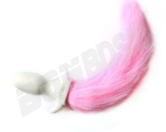White Dog Tail B**t Plug with long Pink Faux Fur, A**l Plug Puppy Tail with Fur, Premium Silicone B**t Plug