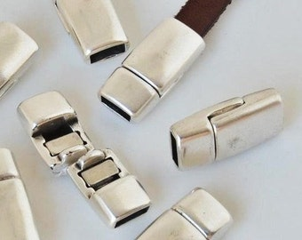 5mm flat leather magnetic clasp, Silver Zamak Magnetic Clasps for jewelry supplies, ,