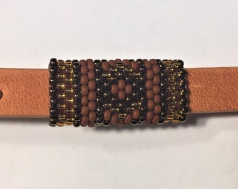 SALE: Versatile Handmade Beaded Tube, 2 Designs on one tube, Brown, Copper, Gold  10mm Flat Leather finding round cords jewelry making
