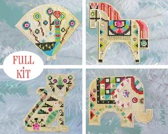 KIT - Shiny Little Zoo - modern cross stitch animal ornaments - full kit option
