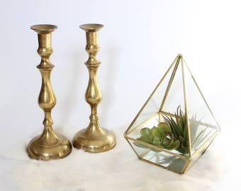 Vintage Brass Candlestick Set Pair of Gold Toned Candlestick Holders Mid Century Modern Art Deco Candlesticks