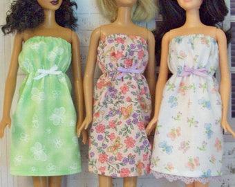 Handmade, Barbie clothes, Barbie dress, sun dress, Barbie Grandma, Grandma clothes, Butterflies dress, floral dress, modest Barbie