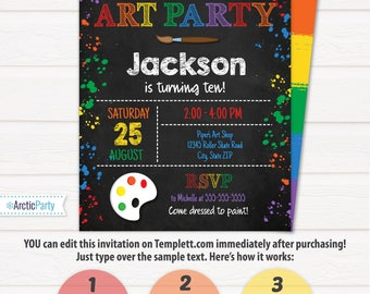 Art Party Invitation - Art Invitation - Art Birthday Party - Painting Party - INSTANT ACCESS - Edit NOW with Templett.com in your browser!