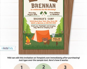camping party invitations camping invitations camping birthday invitations campfire invitations camp party - Camping Party Invitations