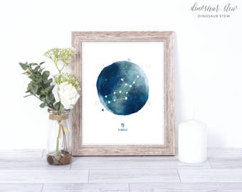 virgo print - watercolor constellation art print - virgo gift idea with color options - 8x10