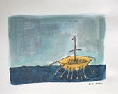 Broighter boat, celtic boat painting, historical Ireland Art, Original Drawing, Line and Wash