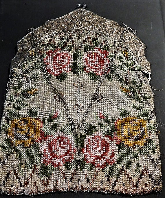 Micro Beaded Purse / Evening Bag / Handbag  / 1800s Victorian /Cherubs / Flutes  /Repousse / Filigree Frame