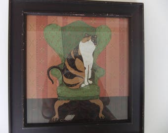 Framed Cat and Mouse Art Print by Warren Kimble Folk Artist is Humorous Whimsical Art for Cat Lovers