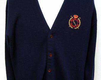 Vtg Rolling Hills Country Club Blue Cardigan Sweater Mens Vintage Preppy Shirts