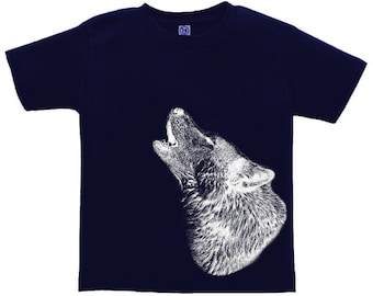 Kids Clothing, Toddler, Howling Wolf Tshirt, Wolf T Shirt, Wildlife, Wild Animal Tee, Youth, Childrens Clothes Ringspun Cotton