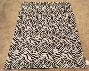 Black and white zebra fleece blanket