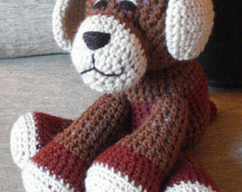"Crocheted puppy dog stuffed animal doll toy ""Rowdy"""
