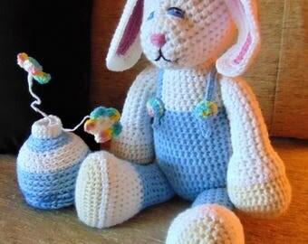 "Crocheted bunny rabbit stuffed animal doll toy ""Brody"""