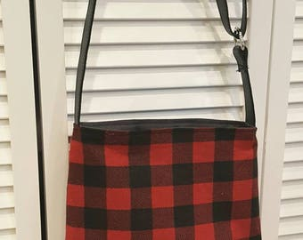 buffalo plaid Crossbody bag, tartan, genuine leather, adjustable strap, crossbody leather bag, black leather bag, red plaid, buffalo check