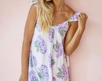 Indah Wing Nightie - Bridesmaids Gift Idea - Hydrangea PURPLE - Code P041 (a)