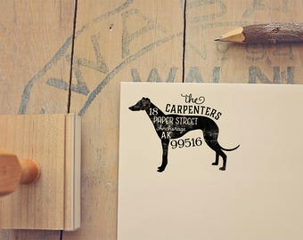 Greyhound Address Stamp - Whippet Return Address Stamp - Dog Lover Gift - Rubber Stamp - Personalized Pet Address Stamp