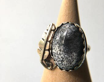Opal Ring, Size 6, 6.25 Dendrite Opal Sterling Silver Ring