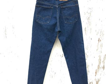 LEVIS 505 Jeans 27 Waist Orange Tab Mom Jeans Dark Wash