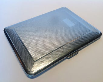 1930s Chrome Plated Cigarette Case. Emu Brand. Sylva Chrome. Business Card Case. Wallet. Medication Case. WW2 Costume Accessories.