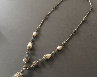 Art Deco Pearl and Silver Filigree Necklace Vintage