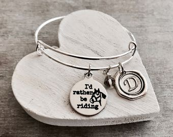 I'd rather be riding, horsewoman, equestrian, Rider, Horse, horse trainer, gymkhana, Pony, Silver Bracelet, Charm Bracelet, Silver Jewelry