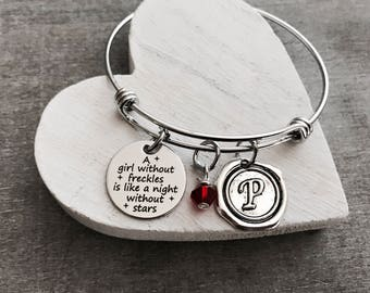 SALE, A girl without freckles is like a night without stars, daughter, Freckles, Ginger, Red head, Silver Bracelet, Charm Bracelet, Keepsake
