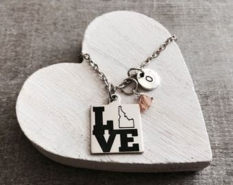 I Love Idaho, Silver Necklace, Charm Necklace, Idaho State, Idaho Necklace, Idaho Map, State Jewelry, College, Leaving, Going away, Gift for