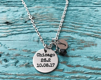 Chicago 26.2, Date, Chicago Marathon, Runner's, Running, Marathon, Runner Gift, Running shoes.,Silver Necklace, Charm Necklace, Gifts for