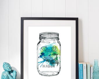 Illustration Mason Jar Beta Fish Watercolor High-Quality Art Print
