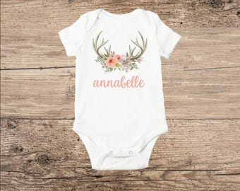 Personalized Baby Clothes, Deer Antlers and Flowers with Monogram