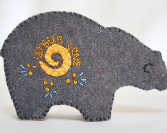Bear felt pdf download pattern polar grizzly teddybear doll ornament