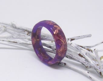 purple ring, purple jewelry, copper ring, resin ring, dark purple ring, stacking ring, geometric ring, crystal ring, victorian ring, bands