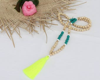 Neon Yellow tassel necklace - Turquoise and white resin beads and natural wood beaded tassel necklace with neon yellow tassel