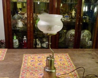 Old Gasoline Lamp converted to Electric- Geometric Frosted Glass Shade