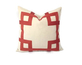 Cream/Ivory with Adobe/Rust color ribbon Pillow Cover