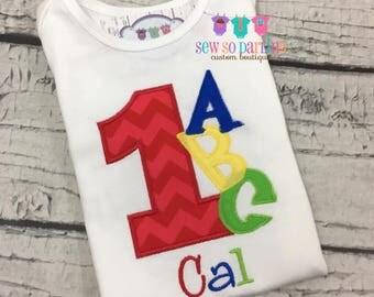 1st Birthday Alphabet Shirt - Baby Boy Birthday ABC Outfit - Alphabet Birthday Shirt - 1st Birthday Shirt -ABC Birthday shirt - ANY age
