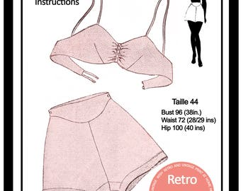 1940s  Bra and French Knickers Sewing Pattern -  PDF Lingerie Pattern - Instant Download Pattern