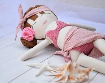 "Cloth doll ""TinyFlowersDoll"" with bikini and pareo"