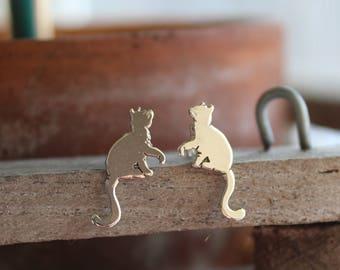 Naughty Paw Cat Earrings / Cat Earrings/ Cat Jewelry / Cat Lover / Cat Lover Gift / Cat Studs / Cat Lady / Cat Art