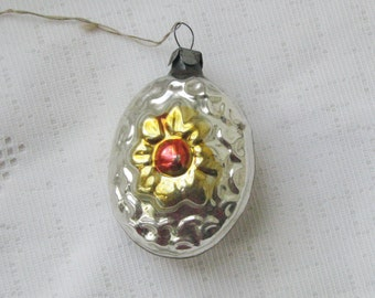 Soviet Christmas tree decoration, Silver  Christmas Glass Ornament - Made in USSR