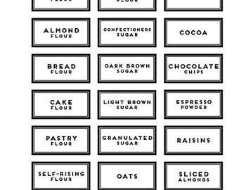 42 BAKING PANTRY LABELS white rectangle round modern black