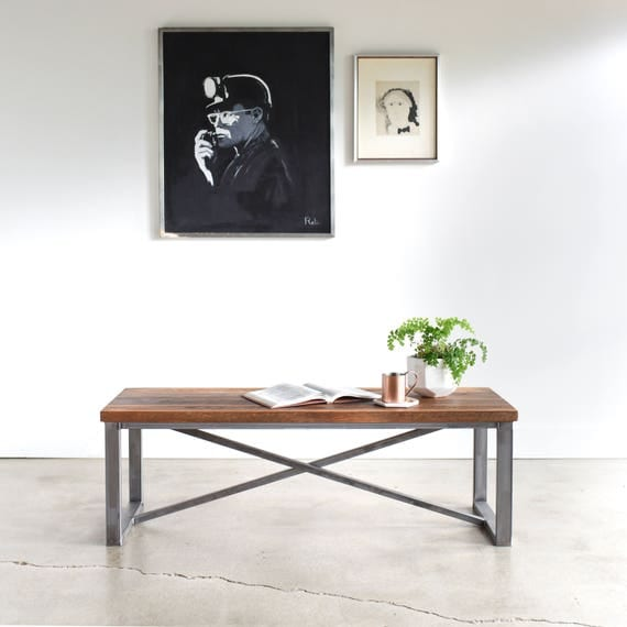 Coffee Table Made From Reclaimed Wood Industrial X Frame