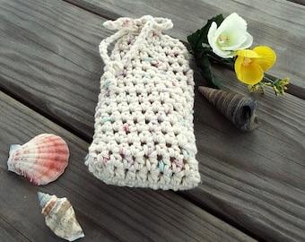 Handmade Soap Saver Cotton Drawstring Bag Soap Sack Bath Crochet Soap Pouch Choice of Colors