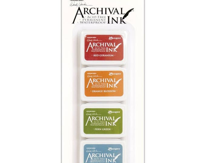 New! Wendy Vecchi Archival Mini Ink Pad Kit - Set # 4 (Red Geranium, Orange Blossom, Fern Green, and Cornflower Blue)