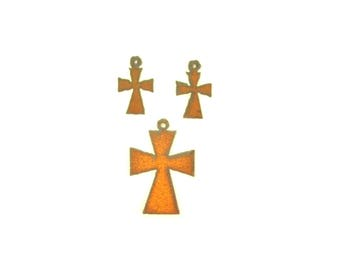 Maltese Cross Rusty Metal Pendant/Charm And Earrings 3-Piece Set