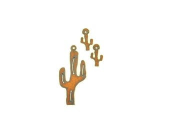 Cactus Rusty Metal Pendant/Charm And Earring 3-Piece Set